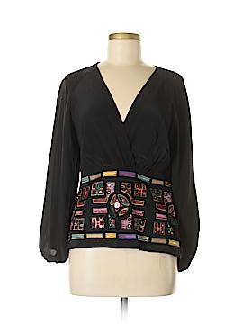 Nicole Miller Artelier Long Sleeve Silk Top Size M