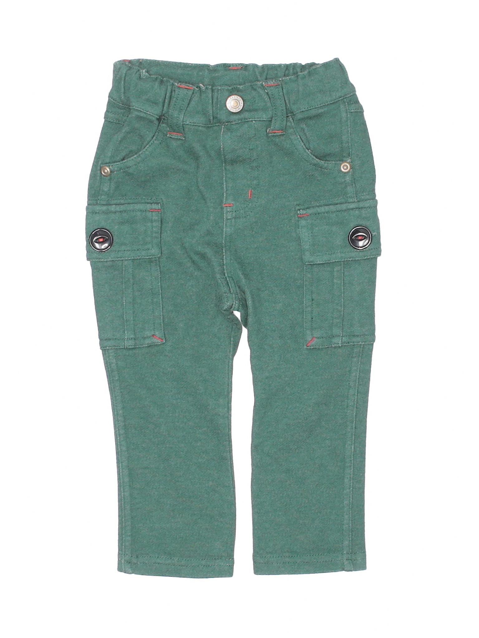 1e3ece7a76 Bit'z Kids 100% Cotton Solid Green Cargo Pants Size 12-18 mo - 90 ...