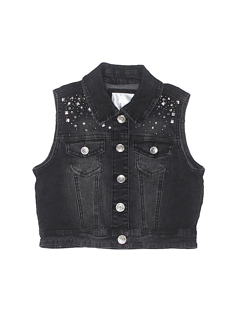 9c0a962faa Justice Solid Black Denim Vest Size 10 - 48% off