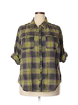 Fashion Bug 3/4 Sleeve Button-Down Shirt Size 2X (Plus)