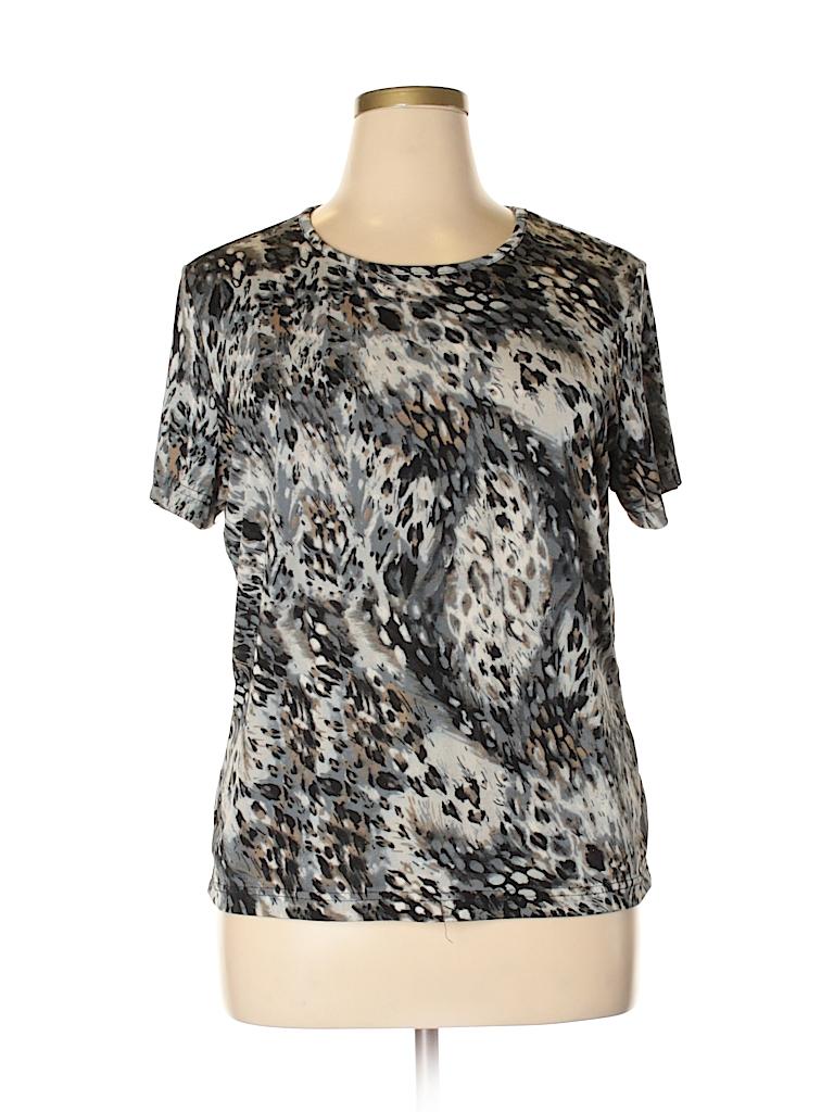 39faae33ddd696 Jaclyn Smith Animal Print Dark Blue Short Sleeve Top Size XL - 16 ...