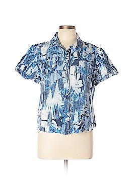 Christopher & Banks Short Sleeve Button-Down Shirt Size L (Petite)