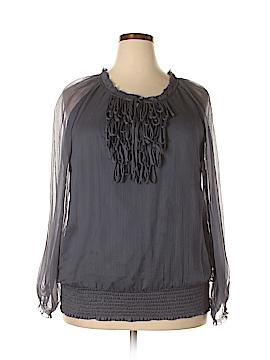 Blue Velvet Long Sleeve Silk Top Size 2X (Plus)