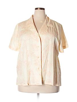 Susan Graver Short Sleeve Button-Down Shirt Size 1X (Plus)