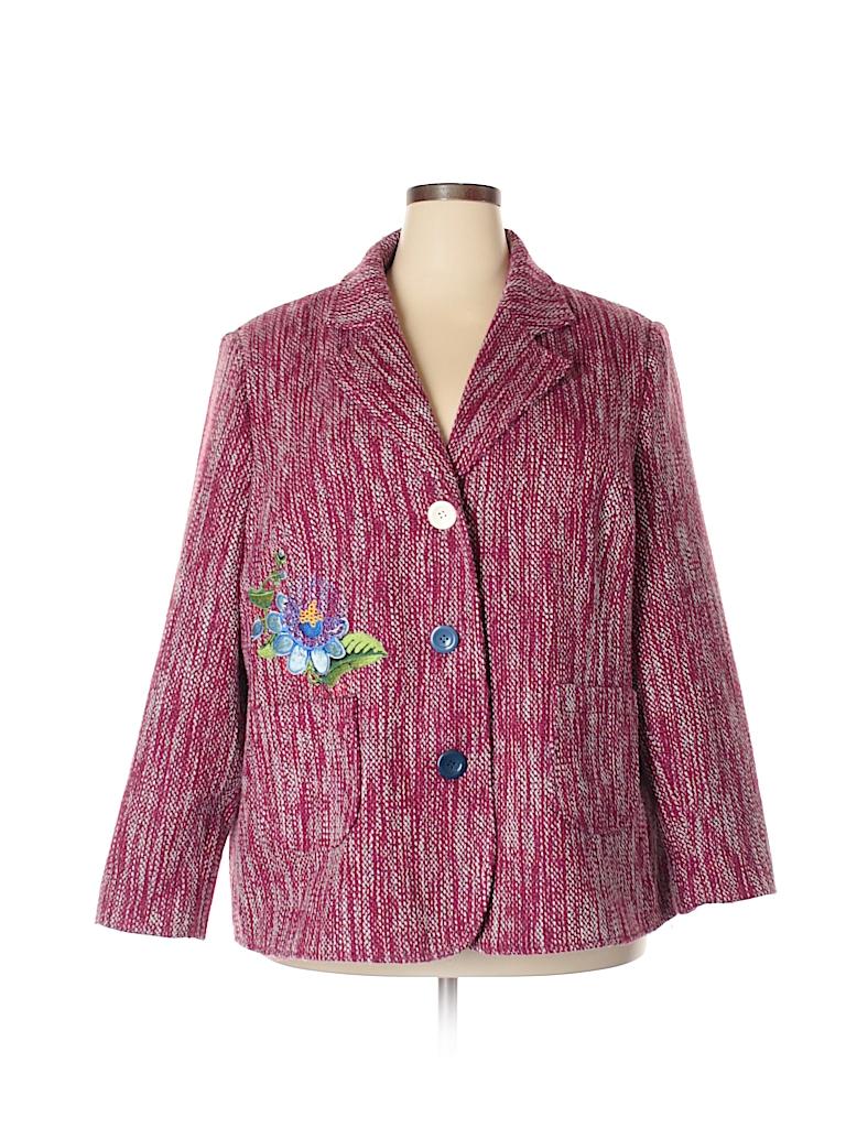 499096cf845b1 Joe Browns 100% Polyester Floral Tweed Pink Blazer Size 26 (Plus ...