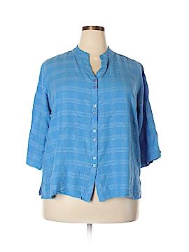 Krazy Kat 3/4 Sleeve Button-Down Shirt Size 2X (Plus)