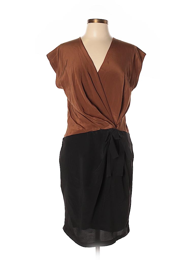 Robert Rodriguez 100% Silk Color Block Brown Cocktail Dress Size 8 ...