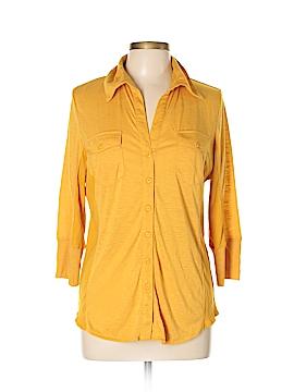 Verve 3/4 Sleeve Button-Down Shirt Size L