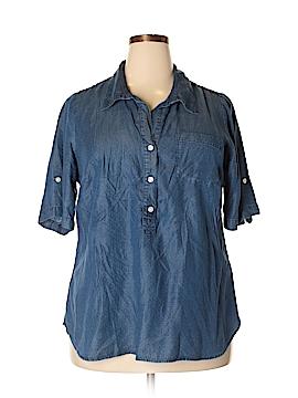 Lucky Brand 3/4 Sleeve Button-Down Shirt Size 1X (Plus)