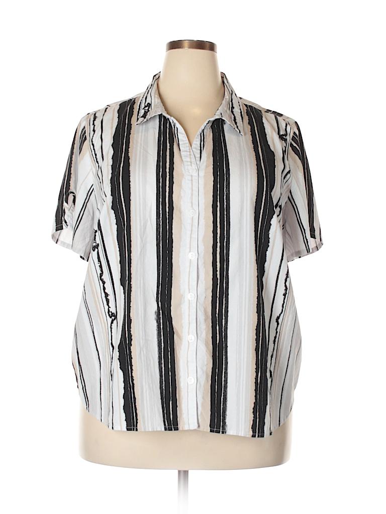 Erika Women Short Sleeve Button-Down Shirt Size 2X (Plus)