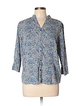 Northcrest 3/4 Sleeve Button-Down Shirt Size L