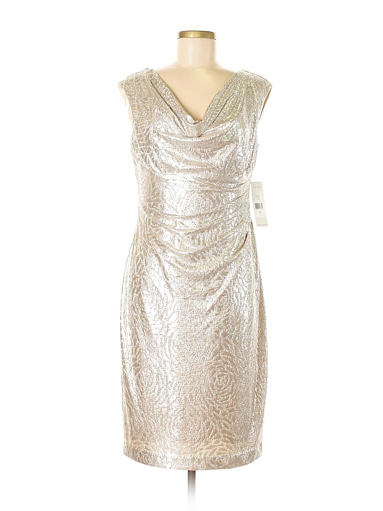 Ralph Lauren 100% Polyester Solid Beige Cocktail Dress Size 10 - 77 ...