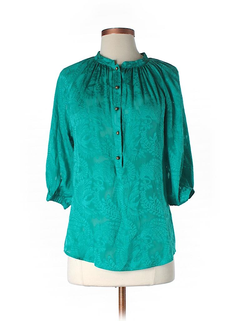 0dfcadcdf43dee Twelfth Street by Cynthia Vincent 100% Silk Blue Teal Long Sleeve ...