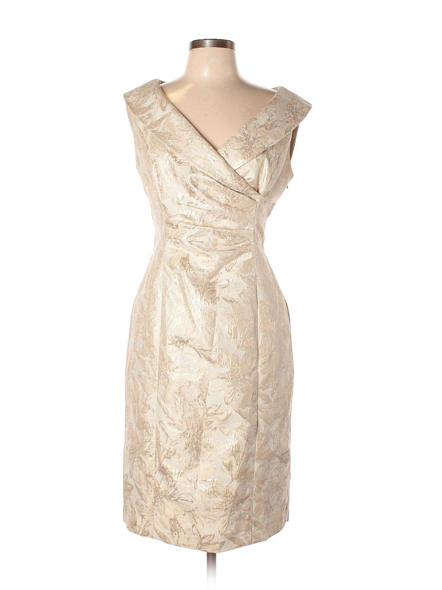 Evan Picone 100% Polyester Metallic Beige Cocktail Dress Size 12 ...