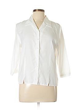 Karen Scott 3/4 Sleeve Button-Down Shirt Size L (Petite)