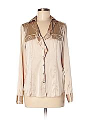 White House Black Market Women Long Sleeve Silk Top Size 6