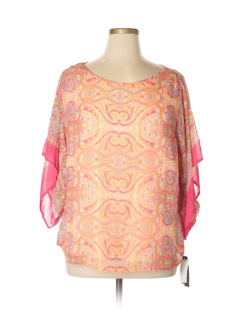 Sara Michelle Women 3/4 Sleeve Blouse Size 1X (Plus)