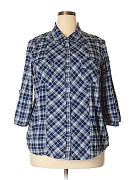 Fashion Bug 3/4 Sleeve Button-Down Shirt Size 1X (Plus)
