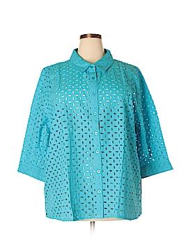 D&Co. 3/4 Sleeve Button-Down Shirt Size 3X (Plus)