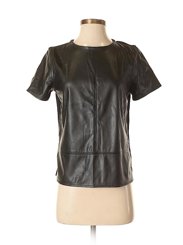 f5b872603f8f9 Ann Taylor LOFT 100% Polyurethane Solid Black Short Sleeve Blouse ...