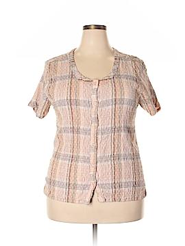 Jane Ashley Short Sleeve Button-Down Shirt Size 2X (Plus)