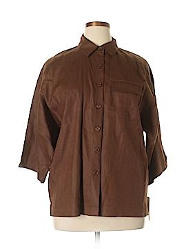 Sutton Studio 3/4 Sleeve Button-Down Shirt Size L (Petite)