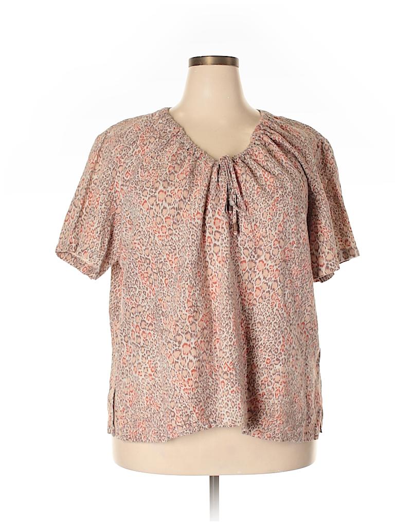 02991d8bbc9c40 Jaclyn Smith Print Tan Short Sleeve Blouse Size 3X (Plus) - 38% off ...