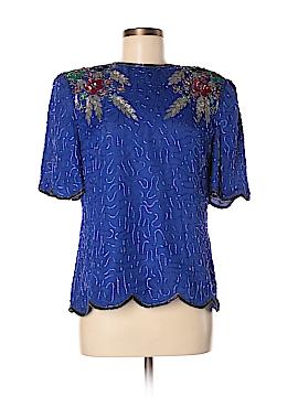 Lawrence Kazar Short Sleeve Silk Top Size M