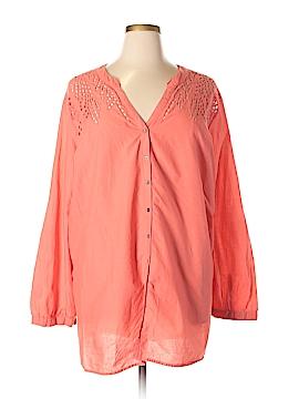 Ellos 3/4 Sleeve Button-Down Shirt Size 2X (Plus)