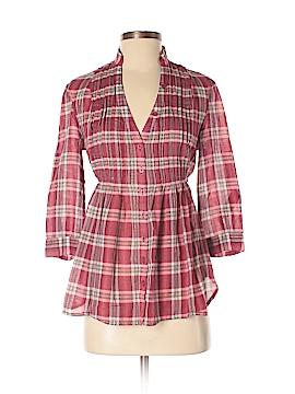 Moda International 3/4 Sleeve Button-Down Shirt Size S