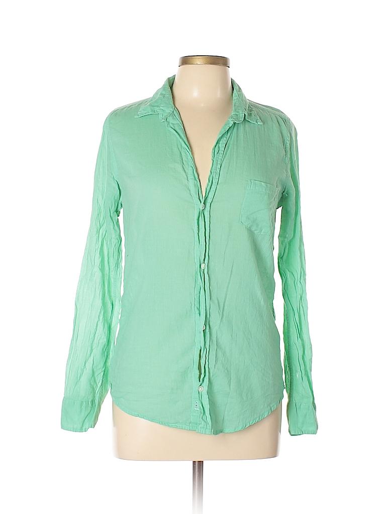 Frank Eileen 100 Cotton Solid Green Long Sleeve Button Down Shirt