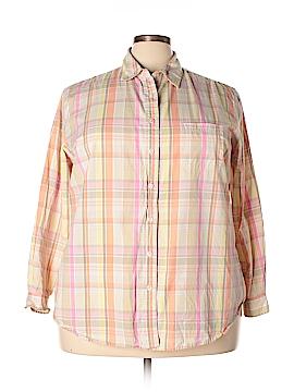 Crossroads Long Sleeve Button-Down Shirt Size 24 (Plus)