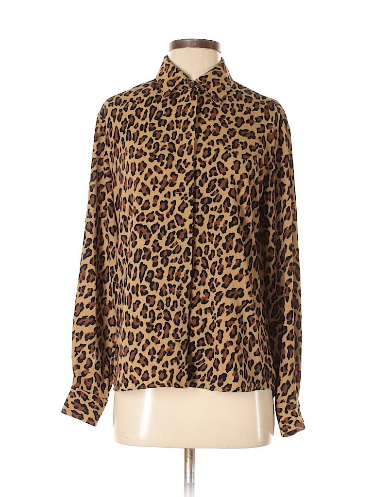 feec338c1a42 Liz Claiborne 100% Polyester Animal Print Tan Long Sleeve Button ...