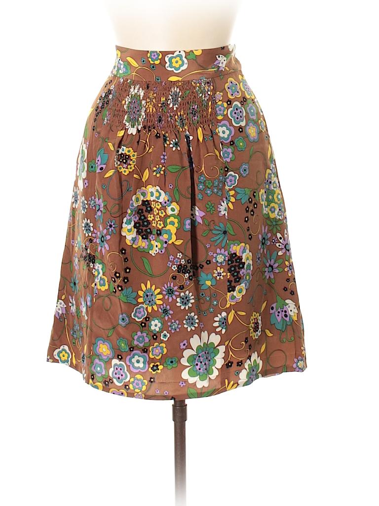 55cc8821d9 Tibi 100% Silk Floral Color Block Brown Silk Skirt Size 8 - 85% off ...