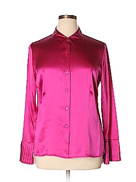 Oscar by Oscar De La Renta Long Sleeve Silk Top Size L