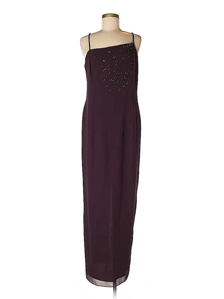 923441c4711 After Dark 100% Polyester Solid Dark Purple Cocktail Dress Size 14 ...