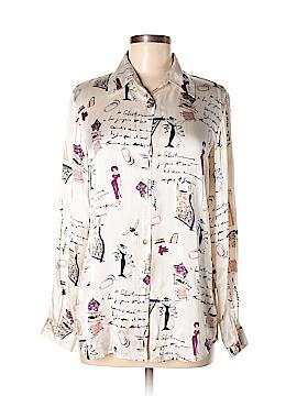 Kasper A.S.L. Long Sleeve Silk Top Size M