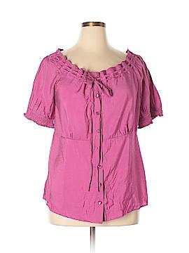 Caribbean Joe Short Sleeve Blouse Size XL