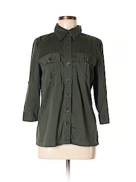 Como Black 3/4 Sleeve Button-Down Shirt Size M