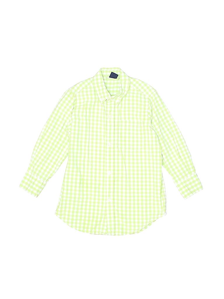 d938a8364 Gap Kids 100% Cotton Checkered Gingham Light Green Long Sleeve ...