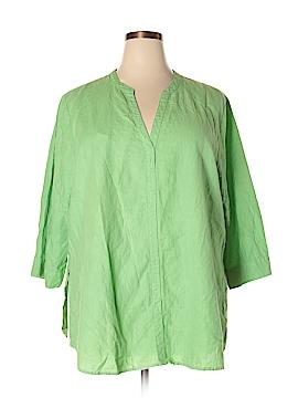 Hot Cotton 3/4 Sleeve Button-Down Shirt Size 3X (Plus)