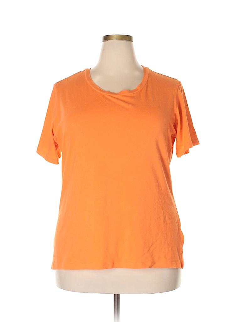 f59e7c5e84d9b Femme by tresics Solid Orange Short Sleeve T-Shirt Size 2X (Plus ...