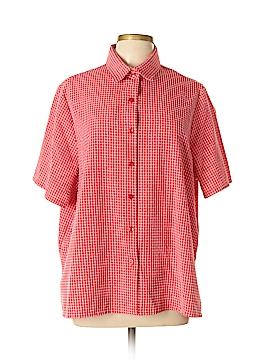 BonWorth Short Sleeve Button-Down Shirt Size L (Petite)