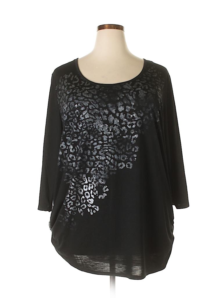 8bd0fe8c567e5 Faded Glory Animal Print Metallic Black 3/4 Sleeve T-Shirt Size 4X ...