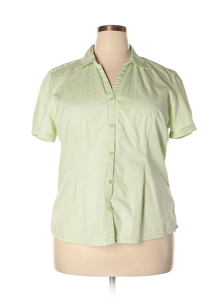 Basic Editions Women Short Sleeve Button-Down Shirt Size XL