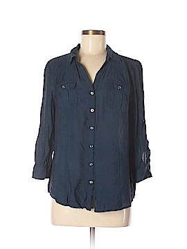 Roz & Ali 3/4 Sleeve Button-Down Shirt Size M