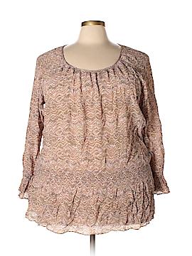 Josephine Chaus Long Sleeve Silk Top Size 24 (Plus)