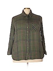 Faded Glory Women 3/4 Sleeve Button-Down Shirt Size 2X (18/20) (Plus)