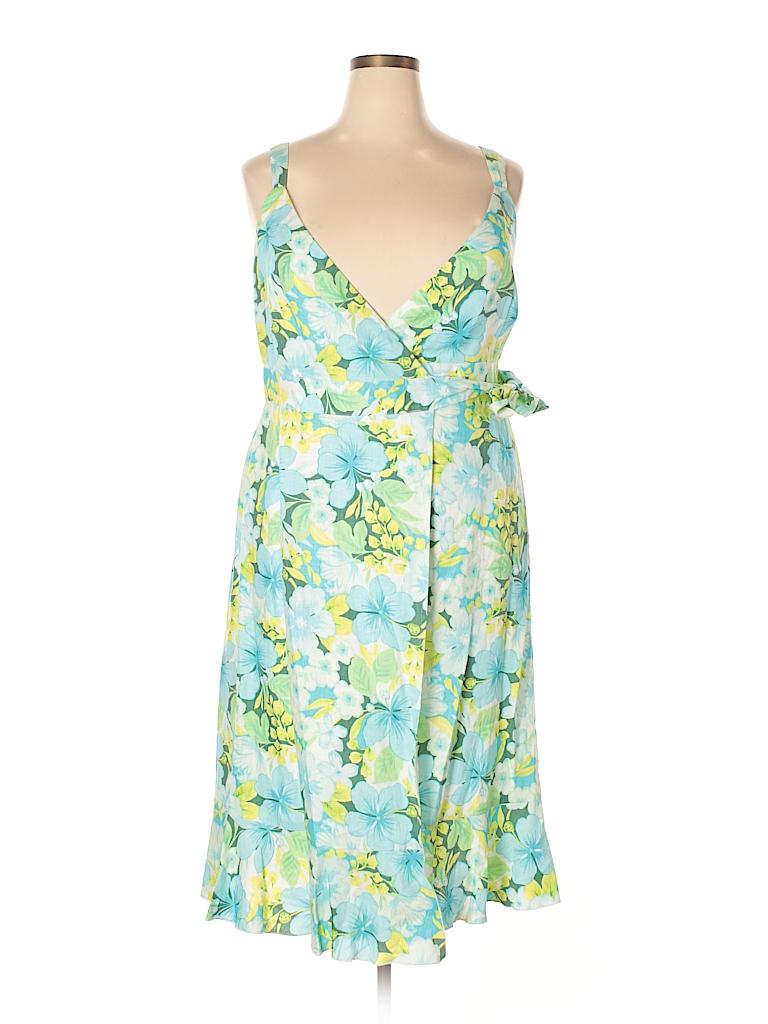d51ded8174 Garnet Hill 100% Linen Floral Blue Casual Dress Size 14 - 79% off ...