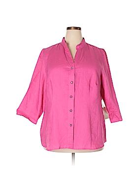 Tweeds 3/4 Sleeve Button-Down Shirt Size 2X (Plus)
